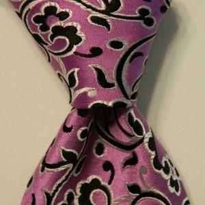 DUCHAMP Silk XL Necktie ENGLAND Floral Purple EUC